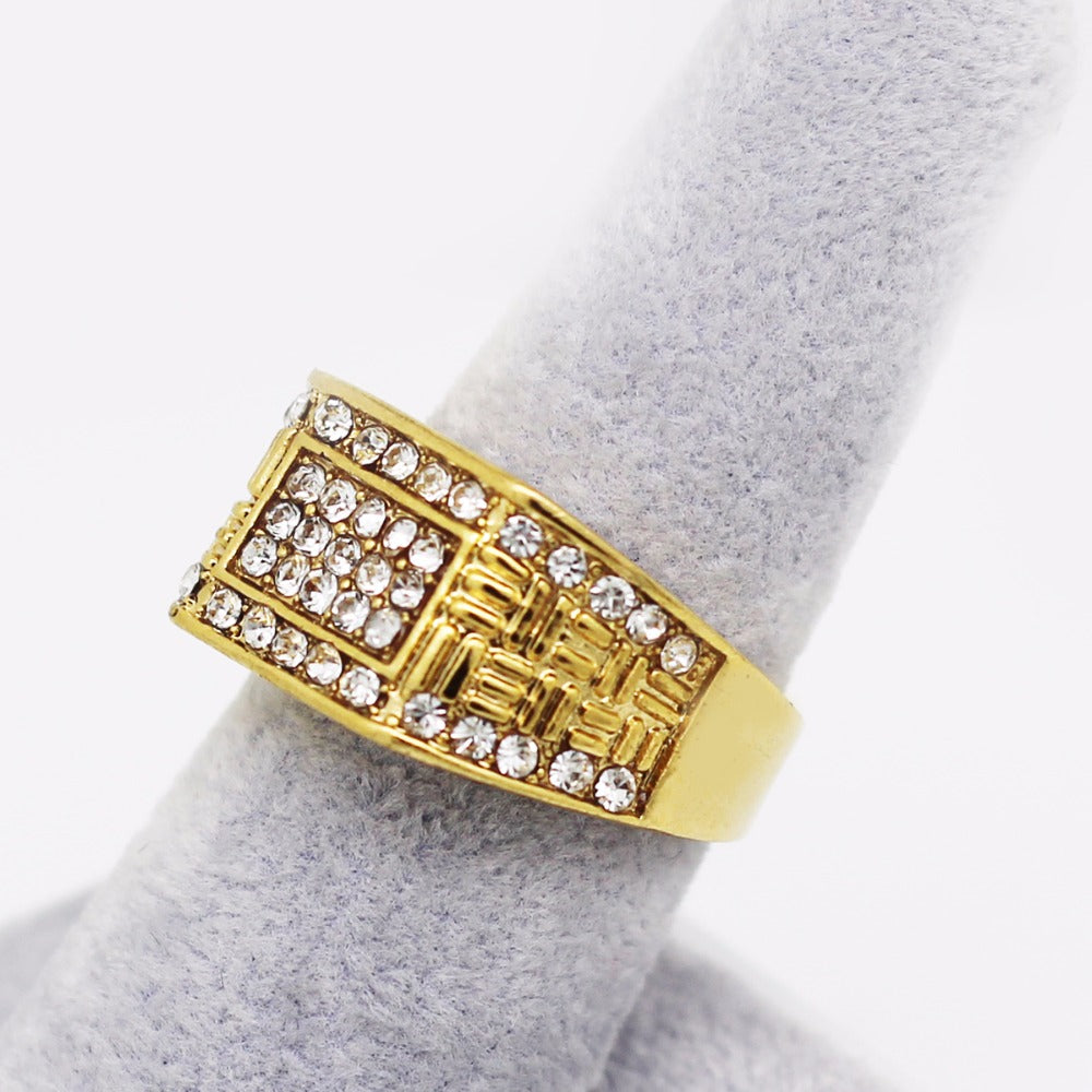 Wedding engagement men male husband ring fashion classic rhinestones brand ring guarantee jewelry - sellhotproducts