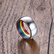 Rainbow Ring For Men Stainless Steel Wedding Ring 8MM Wide Gay Pride - sellhotproducts
