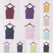 Sexy Women V Neck Sleeveless Knitted Tops Shirt Spaghetti Strap Short Tops - sellhotproducts