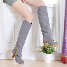Plus Size 34-43 High Heels Long Boots Flock Winter Knee High Boots Women Shoes Fashion Zipper Style Botas Femininas WSH994 - sellhotproducts
