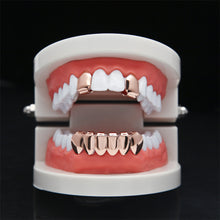 UWIN Hip Hop Rose Plated Custom Mouth Grillz Set 2pcs Single Top & 6 teeth Bottom set gold grills - sellhotproducts