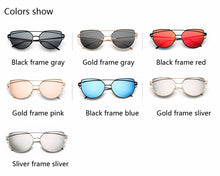New Fashion Cat Eye Sunglasses Women Brand Designer Twin-Beam Mirror Lens Sun Glasses Rose Gold Metal UV400 Lentes de sol Hombre - sellhotproducts