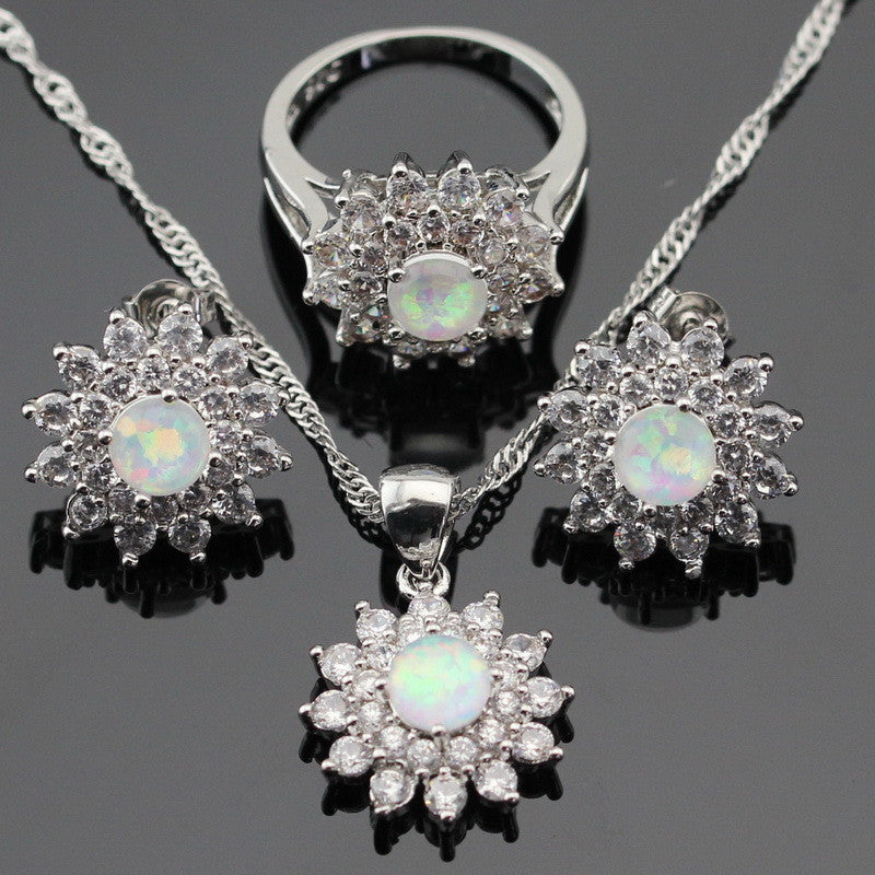 Necklace Pendant Stud Earrings Snowflake White Fire Opal Silver Color Jewelry Sets For Women Cubic Zirconia - sellhotproducts
