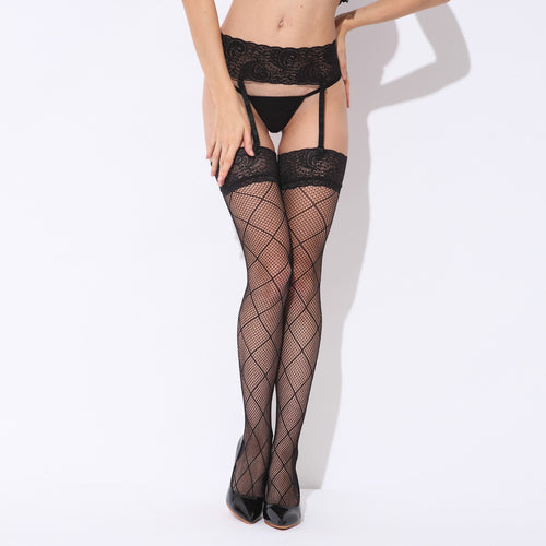 Sexy Black Mesh Checkered Grid Thigh High Stockings with Attached Lacy Garter Belt Underwear Punk Erotic Lingerie Set Outfit - sellhotproducts