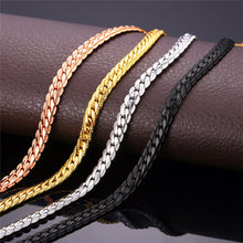 U7 Necklace Long/Choker Wholesale 6MM Vintage Punk Black Gun/Gold Plated Chain For Women/Men Jewelry N308 - sellhotproducts