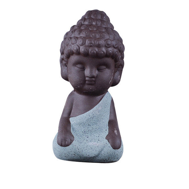 Small Buddha Statue Monk Figurine India Mandala Tea Ceramic Crafts Home Decorative Ornaments Miniatures - sellhotproducts