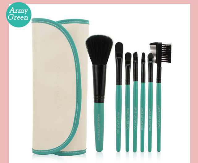 Professional 7 PCS Makeup Brushes Set Tools Make-up Toiletry Kit Wool Brand Make Up Brush Set Case Cosmetic Foundation Brush - sellhotproducts