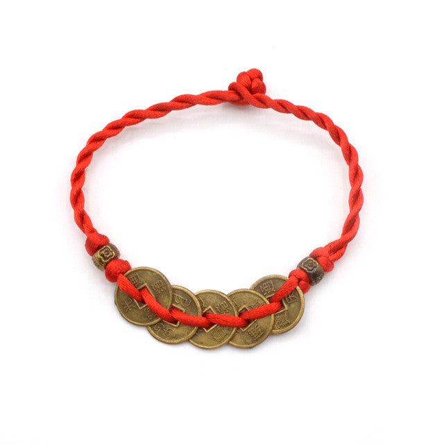 Lychee 1 piece Chinese Feng Shui Wealth Lucky Copper Coin Pendant Adjustable Red String Bracelet Jewelry - sellhotproducts