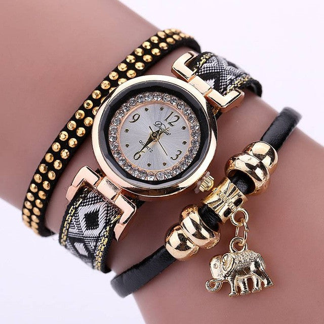Luxury Brand New Women's Watch Fashion Gold Elephant Pendant Bracelet Watch Round Casual Ladies Girls Wristwatches - sellhotproducts