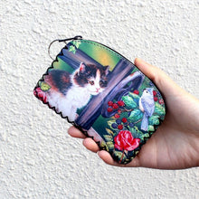New graffiti cat elephant owl coin purse,Change purse card holder Handmade Hem wallets purse women clutch zipper coins bag pouch - sellhotproducts