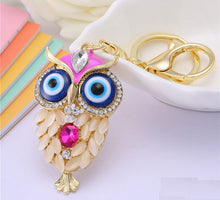 Pick 5 colors Owl key chains  Crystal turkey eyes rhinestone key chain Charm Purse Handbag Car Key Keyring Keychain - sellhotproducts