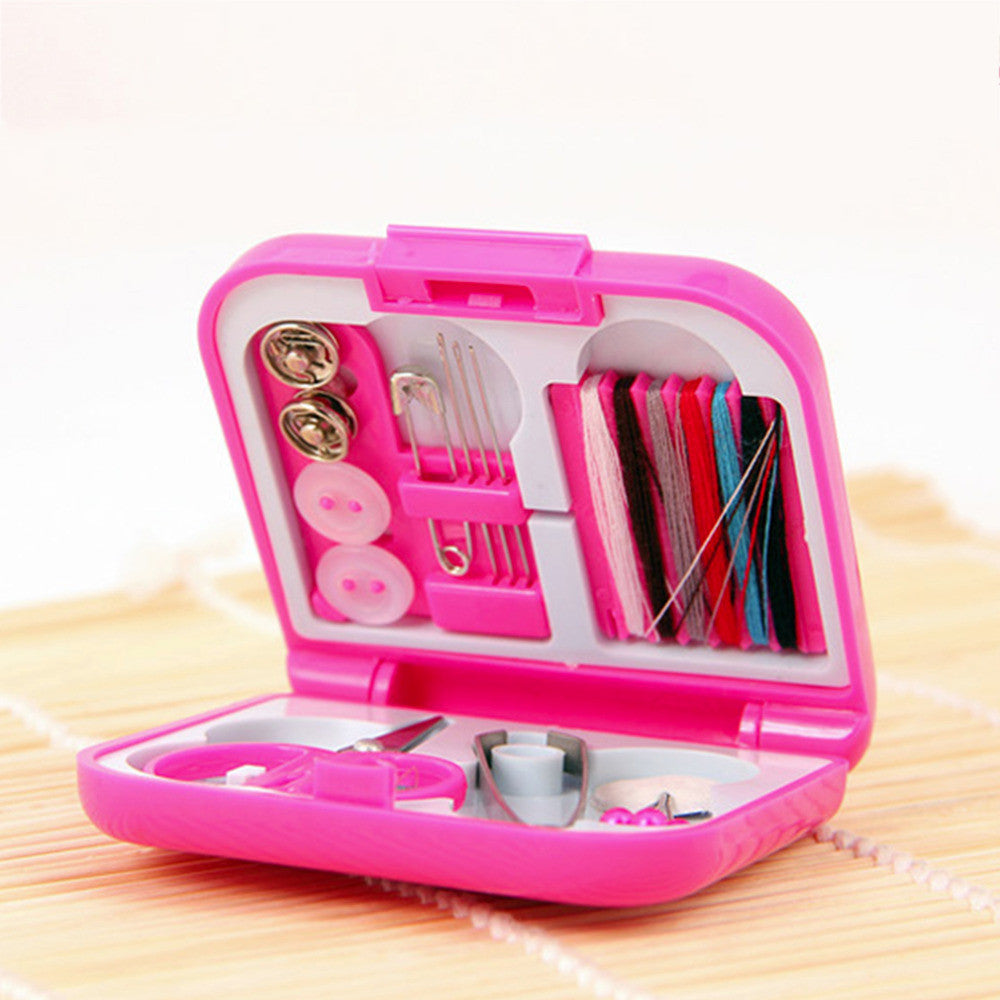 Portable Travel Sewing Kits Box Needle Threads Scissor Thimble Home Tools - sellhotproducts