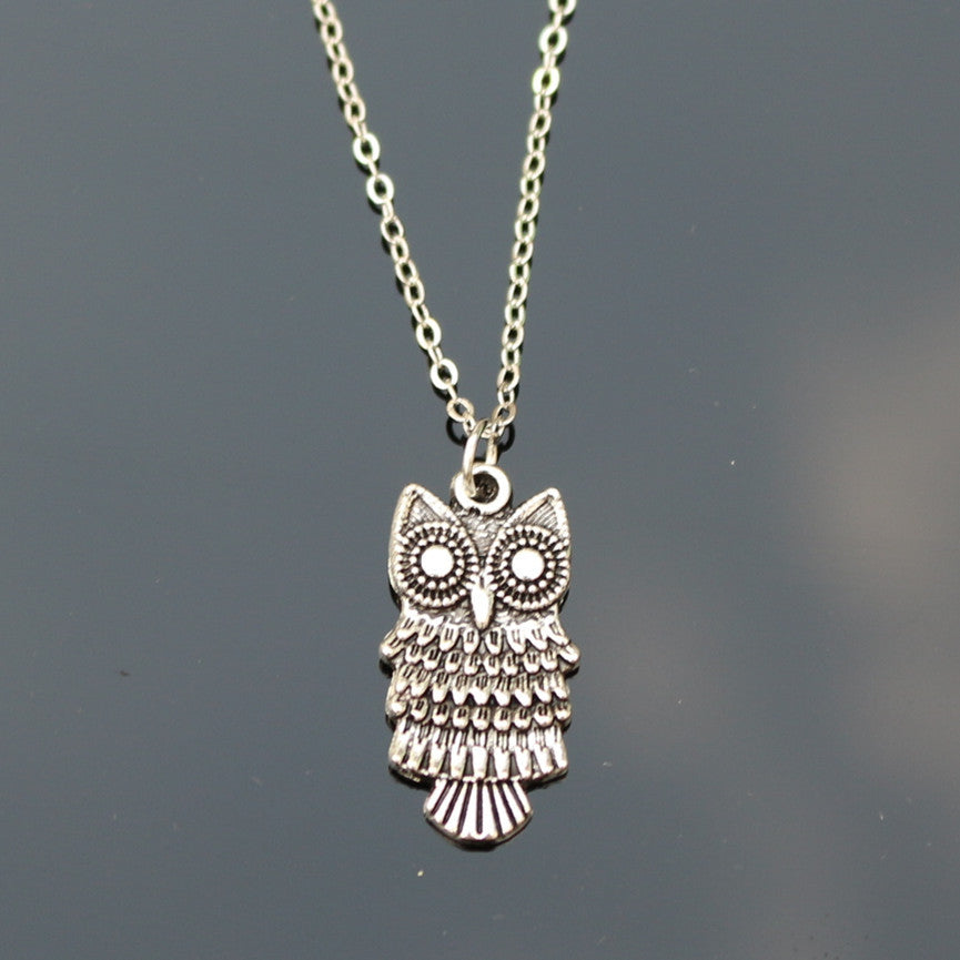 NK775 New Cheap Men Bijoux Love Vintage Silver Plated Small Owl Pendants Necklace For Women Chain Jewelry Gift One Direction Exo - sellhotproducts