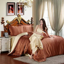 Silk feel satin solid purple bedding set king size cover set bed clothes sheet - sellhotproducts