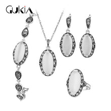 Women Turkish Vintage Jewelry Set Natural Stone White Opal Jewelry Sets Ancient Silver Plated Pendant Necklace Wedding Jewellery - sellhotproducts