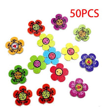 Nice 100/50/10/8pcs 2Holes Mixed Flower Cat Owl heart bird dot Wooden Decorative Buttons For Sewing Scrapbooking Crafts - sellhotproducts