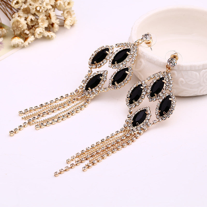 Queen sexy black acrylic rhinestone tassel sparkling noble formal dress dinner long earrings - sellhotproducts