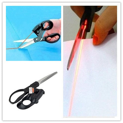 One Professional Laser Guided Scissors For home Crafts Wrapping Gifts Fabric Sewing Cut Straight Fast with battery - sellhotproducts