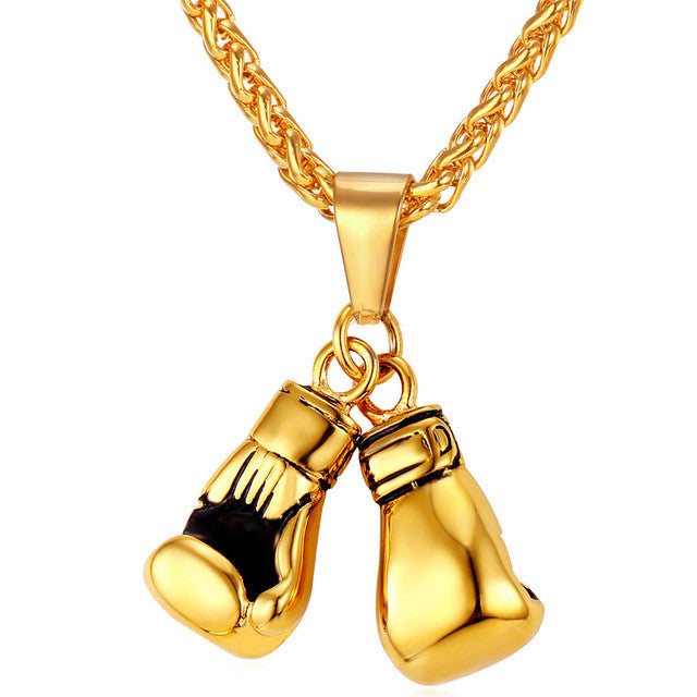 U7 Brand Men Necklace & Pendant Gold Color Stainless Steel Chain Pair Boxing Glove Charm Fashion Sport Fitness Jewelry P856 - sellhotproducts