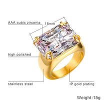 Luxury Stone Ring for Women Square Zircon Rings Gold-color Stainless Steel - sellhotproducts