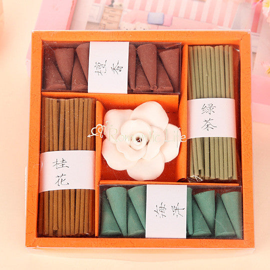 Solid Fragrance Pagoda Incense Gift Set Containing Holder Aromatherapy Sleep Incense Spice Toilet Incense 5 In 1 Set Gifts - sellhotproducts