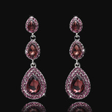 Top Luxury Champagne Crystal Earrings Gold Color Long Big Drop Earrings