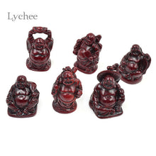 Lychee 6 Pieces/Set Chinese Style Resin Crafts Feng Shui Laughing Maitreya Buddha Statue Craft Luck And Wealth - sellhotproducts