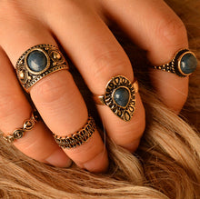 Vintage 5 PCS Small Size Finger Ring Set Blue Natural Stone Midi Ring Sets For Women Flower Turkish Punk Knuckle Rings - sellhotproducts
