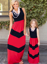 Summer New fashion hot sale Family Matching Outfits Mother and daughter outfit  striped dress - sellhotproducts