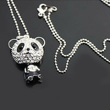Women Silver Color Rhinestone Crystal Panda Pattern Pendant Necklace Chain Aolly Long Sweater Necklaces Fashion Jewelry - sellhotproducts