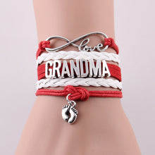 love mom grandma bracelet heart feet charm Bracelet for women Leather bracelets & bangles - sellhotproducts