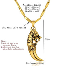Steam Punk Men Gold Color Wolf Tooth Necklace Wolf Pendant Necklace Male Gold Stainless Steel Dragon Pendant Jewelry Amulet - sellhotproducts