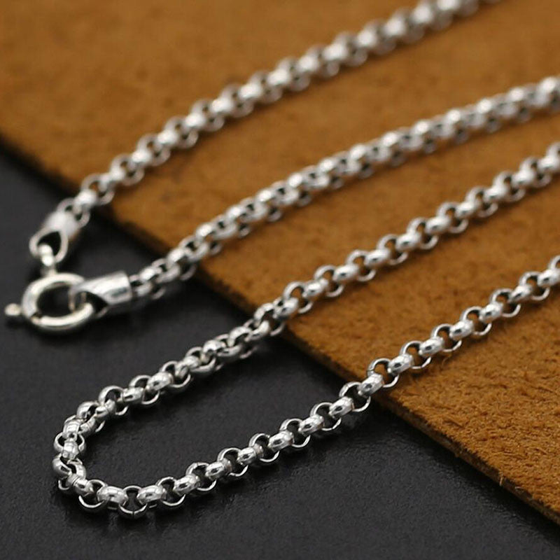 Necklace 925 sterling silver 3mm classic Thai style 100% for women or men silver vintage jewelry - sellhotproducts