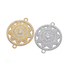 Supplies for jewelry wholesale HANDMADE Gold Plated Sun Flower Connector Accessories Brass Micro Pave CZ Jewelry Round Connector - sellhotproducts