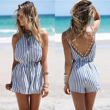 Rompers Women Jumpsuit Sexy Ladies Cotton Striped Blue - sellhotproducts