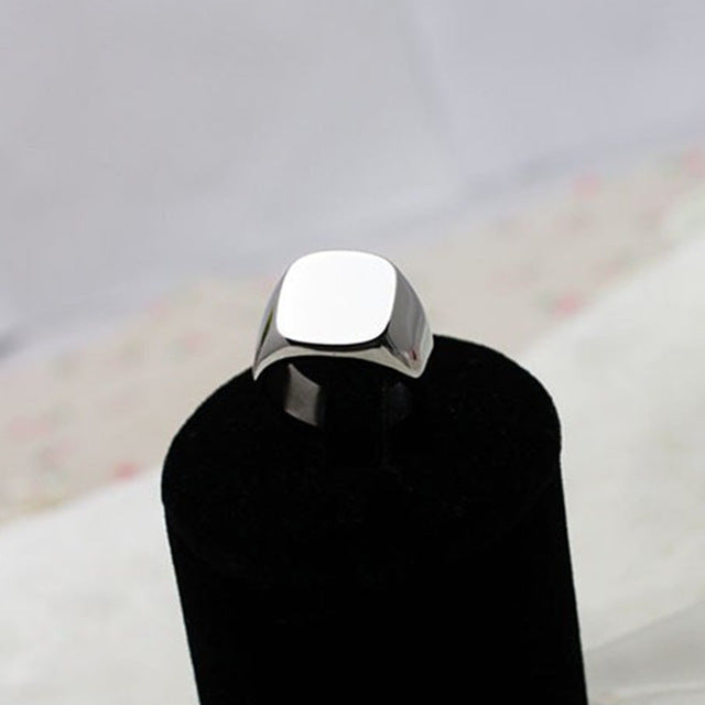Rings Blank Stainless Steel Mens Signet Rings Silver Color Size 8 9 10 11 - sellhotproducts