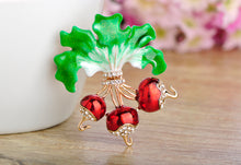 Red Radish Brooches Gold-color Enamel Plant Brooch Lapel Pin Shiny Crystal - sellhotproducts