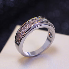 Women Wedding Band Ring 2 Tones Gold Color Sparkling CZ Engagement Jewelry Gift - sellhotproducts