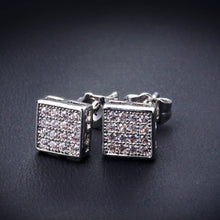 Square Button CZ Stud Earrings for Women Deluxe Party Jewels Beautiful Gift - sellhotproducts