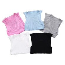 Sexy Women Summer Crop Tops Knitted fabric Camisole Knitted Halter Off Shoulder O-neck Vest Slim Tank