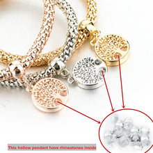 Vintage Designer Austrian Rhinestones Gold Color Tree of Life Charm Bracelets Popcorn Chain Jewelry For Women - sellhotproducts