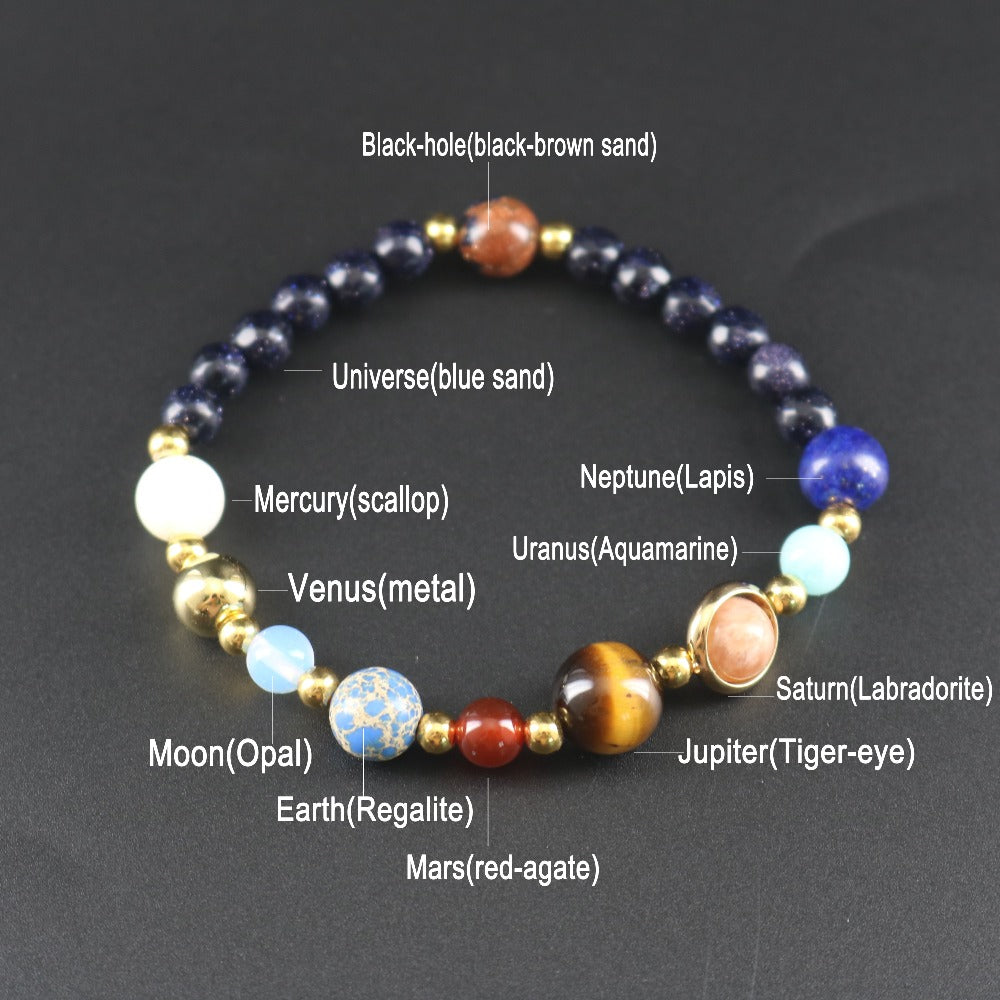 Jewelry Beaded Natural Stone Planet Bracelet Universe