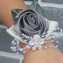 Wrist Flowers Handmade Wine red Crystal Bouquet Corsage Diamond Satin Rose Flowers for Wedding Bride