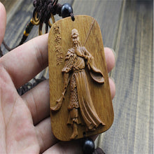 Rosewood Wood Carved Figure Guan Gong Amulet