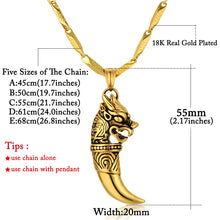 Wolf Tooth Necklace Pendant Necklace Chain Stainless Steel Dragon Amulet