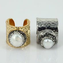 Sterling Silver Convex Design Jewelry Natural Pearl Rhinestone Gold Silver Plated Base Adjustable Open Ring - sellhotproducts