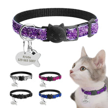 Sequins Break Away - Collar Cat ID - Collar Bling - Puppy Dog Collars - Engraved Tag Bell