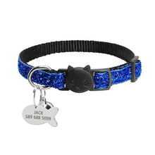 Sequins Break Away Collar Cat ID Collar Bling Puppy Dog Collars Engraved Tag Set With Bell