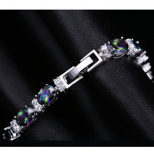 Luxury Design Multicolor Oval Rainbow Mystic Crystal Women Fancy Bracelet With Cubic Zirconia Stones