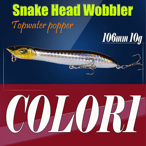 Plastic Baits Artificial Fodder Hard Lure 106mm/10g Fishing Lure Snake Head Popper Bait 2pcs - sellhotproducts